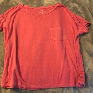 Pink Cropped American Eagle Tee